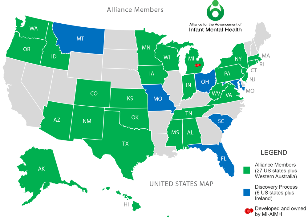 Alliance for the Advancement of Infant Mental Health - Map of USA Members